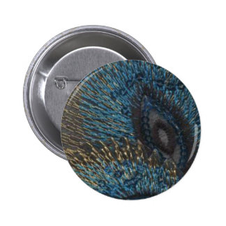 Blue Peacock Feather Pinback Buttons