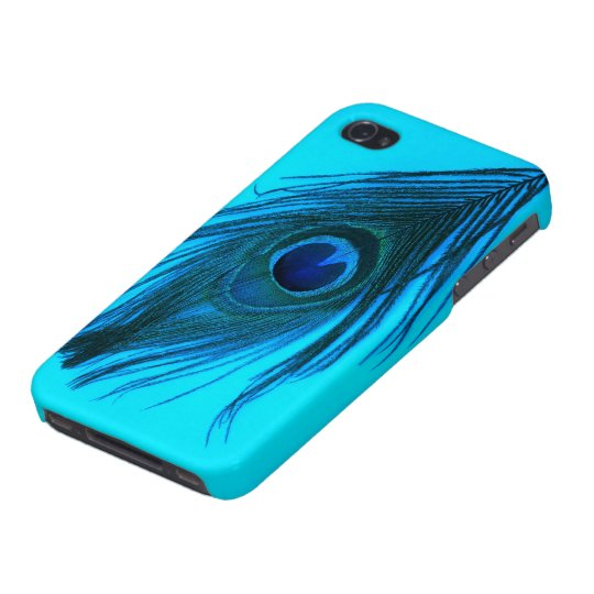 Blue Peacock Feather Cover For iPhone 4