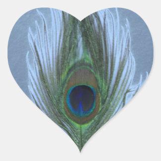 Blue Peacock Feather D Heart Sticker