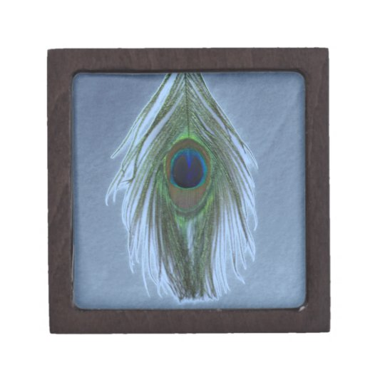 Blue Peacock Feather D Jewelry Box