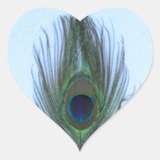 Blue Peacock Feather Heart Sticker