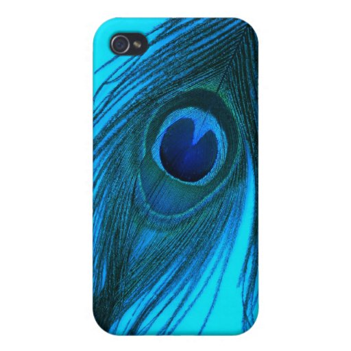 Blue Peacock Feather iPhone 4/4S Cases