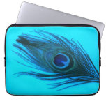 Blue Peacock Feather Laptop Sleeve