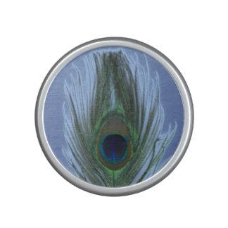 Blue Peacock Feather on Dark Blue Speaker