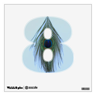 Blue Peacock Feather on Gray 8 Wall Decal