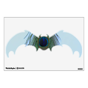 Blue Pea Feather On Gray Bat Wall Decal