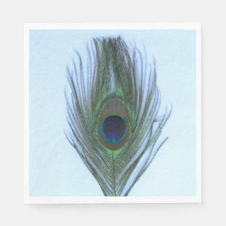 Blue Peacock Feather on White Standard Luncheon Napkin