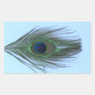 Blue Peacock Feather P Rectangular Sticker