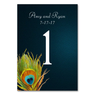 Blue Peacock Feather Table Number Card Table Card