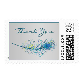 Blue peacock feather Wedding Thank You Postage