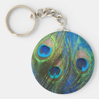 Blue Peacock Feathers Basic Round Button Keychain