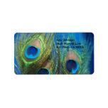 Blue Peacock Feathers Custom Address Label