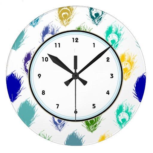 Blue Peacock feathers print art Wall Clocks