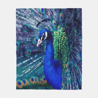 Blue Peacock Fleece Blanket