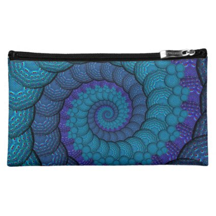 Blue Peacock Fractal Pattern Cosmetics Bags