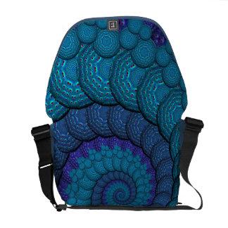 Blue Peacock Fractal Pattern Courier Bag