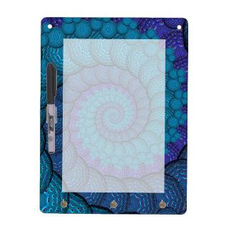 Blue Peacock Fractal Pattern Dry Erase Boards
