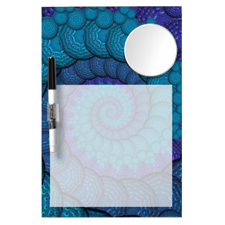 Blue Peacock Fractal Pattern Dry Erase Whiteboard