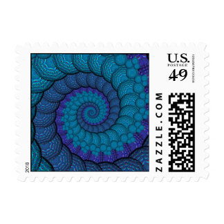 Blue Peacock Fractal Pattern Postage