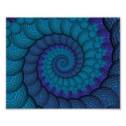 Blue Peacock Fractal Pattern Poster