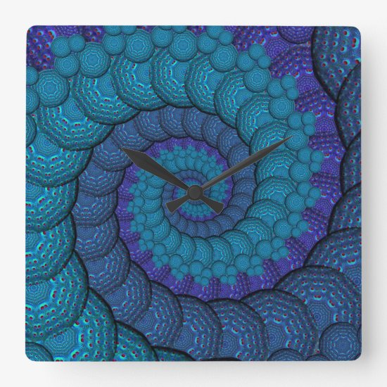 Blue Peacock Fractal Pattern Square Wall Clock