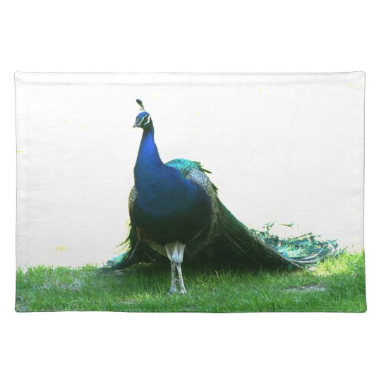 Blue peacock just grass clear sky cloth placemat