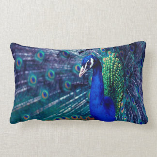 Blue Peacock Lumbar Pillow