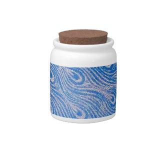 Blue Peacock Mosaic Candy Jar