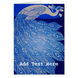 Blue Peacock Mosaic Card