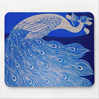 Blue Peacock Mosaic Mouse Pad