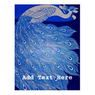 Blue Peacock Mosaic Postcard
