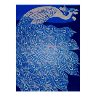 Blue Peacock Mosaic Poster