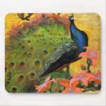 Blue Peacock Mouse Pads