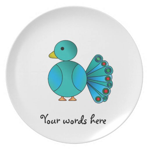 Blue peacock party plate