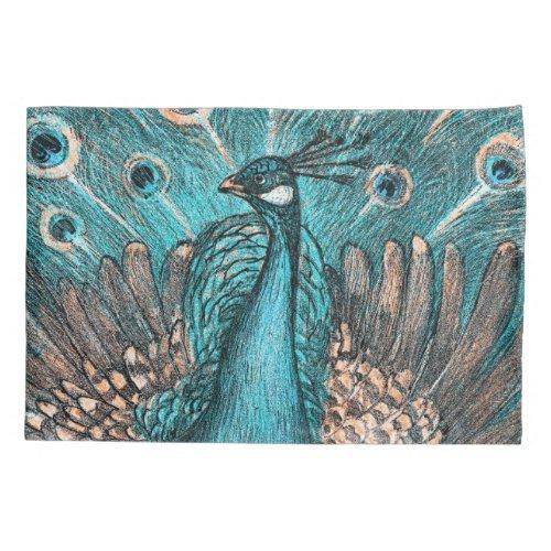 blue peacock pillow case
