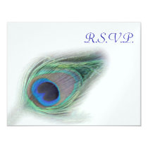 blue peacock  rsvp cards