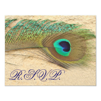 "blue peacock  rsvp cards 4.25"" x 5.5"" invitation card"