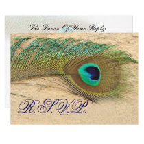 blue peacock  rsvp cards standard 3.5 x 5