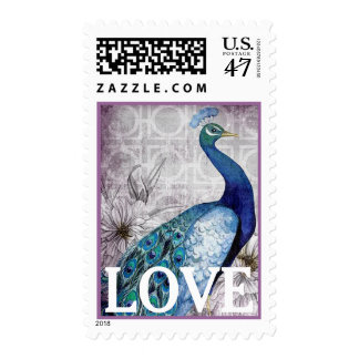 Blue Peacock Vintage Style Love Wedding Postage