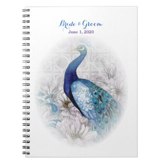 Blue Peacock Vintage Style Wedding Notebook