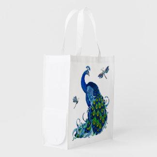 Blue Peacock w Dragonflies 2 side Reusable Bag