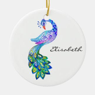 Blue peacock watercolor ceramic ornament