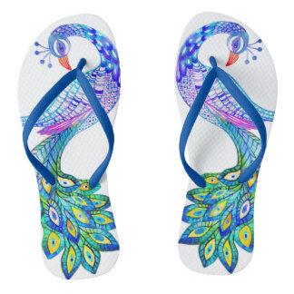 Blue peacock watercolor flip flops