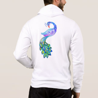 Blue peacock watercolor hoodie