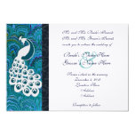 "Blue Peacock Wedding Invitation 5"" X 7"" Invitation Card"