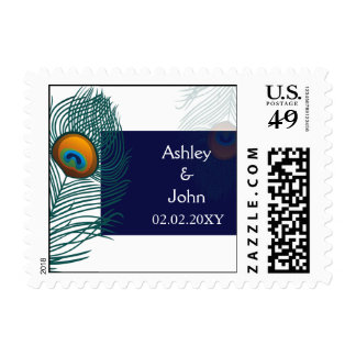 blue peacock wedding postage