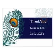 blue peacock wedding Thank You Postcard