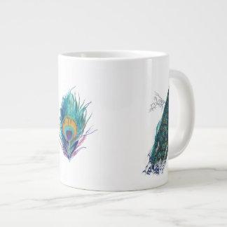 Blue Peacock with beautiful tail feathers 20 Oz Large Ceramic Coffee Mug