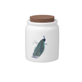 Blue Peacock with beautiful tail feathers Candy Jar