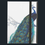 """Blue Peacock with beautiful tail feathers iPad Air Cover<br><div class=""""desc"""">vintage, peacock, peahen, &quot;pea hen&quot;, blue, turquoise, teal, feathers, bird, birds, animal, animals, wildlife, natural, nature, classic, classy, elegant, sophisticated, art, artistic, drawing, vain, proud, beautiful, pretty, colorful, feather, &quot;dark blue&quot;, wild, peafowl, fowl, green, yellow, girly, feminine, colorful, contemporary, modern, trendy, fashionable, fashion, magnificent, majestic, feminine, white, &quot;royal blue&quot;, royal,...</div>"""